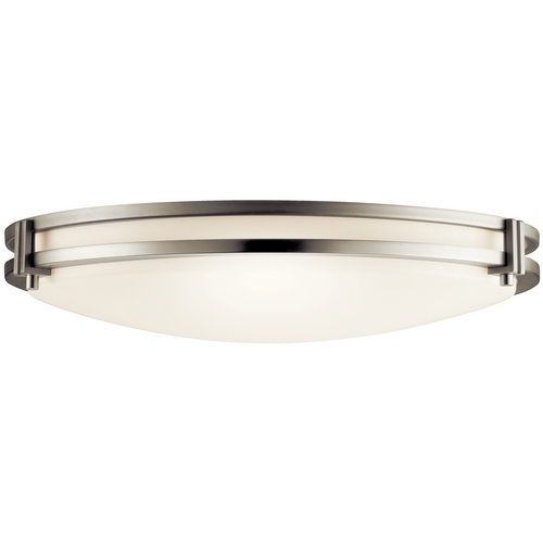 Kichler Lighting Kichler Modern Brushed Nickel Flushmount Light with White Acrylic 10827NI