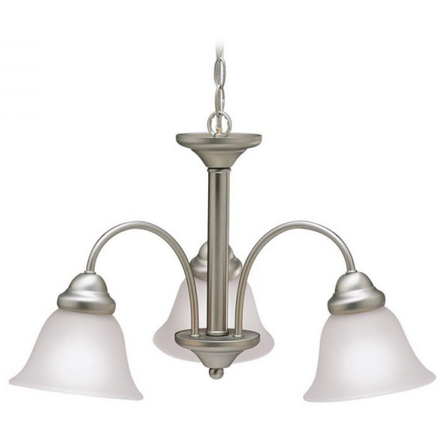 Kichler Lighting Kichler Chandelier with White Glass in Brushed Nickel Finish 3293NIA