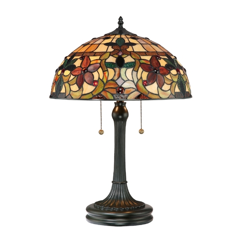 Quoizel Lighting Table Lamp with Tiffany Glass in Vintage Bronze Finish TF878T