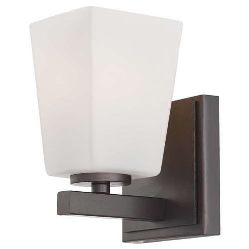 Minka Lavery Modern Sconce with White Glass in Lathan Bronze Finish 6541-167