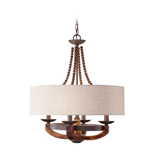 Feiss Lighting Pendant Lights in Rustic Iron / Burnished Wood Finish F2752/4RI/BWD
