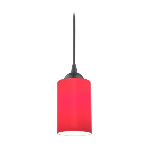 Design Classics Lighting Contemporary Mini-Pendant Light with Red Cylinder Glass 582-07  GL1008C