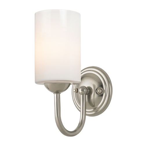 Design Classics Lighting Sconce with White Glass in Satin Nickel Finish 593-09 GL1024C