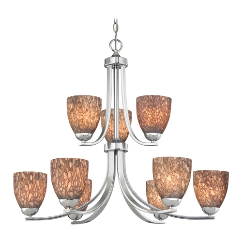 Design Classics Lighting Modern Chandelier with Brown Art Glass in Polished Chrome Finish 586-26 GL1016MB