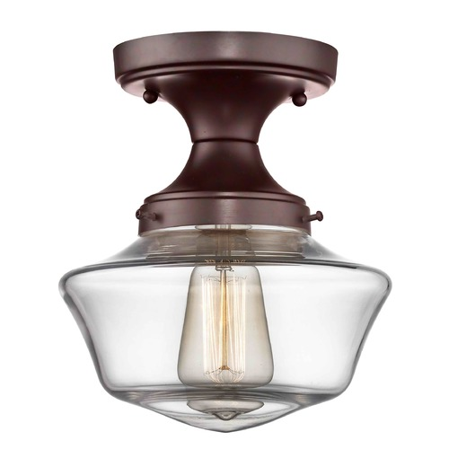 Design Classics Lighting 8-Inch Wide Bronze Clear Glass Schoolhouse Ceiling Light FDS-220 / GA8-CL