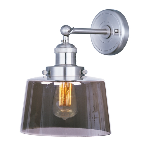 Maxim Lighting Sconce Wall Light with Clear Glass in Satin Nickel Finish 25069MSKSN/BUI