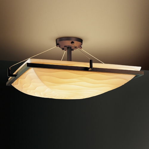 Justice Design Group Justice Design Group Porcelina Collection Semi-Flushmount Light PNA-9782-25-WAVE-DBRZ