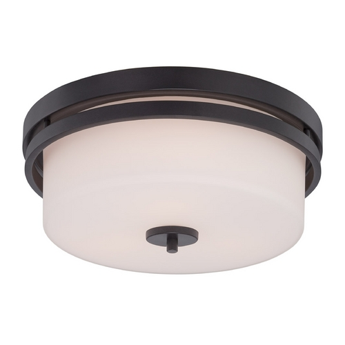 Nuvo Lighting Flushmount Light with White Glass in Aged Bronze Finish 60/5307