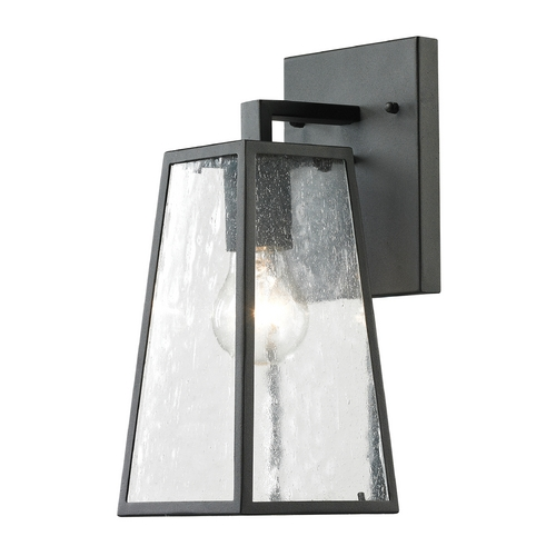 Elk Lighting Outdoor Wall Light with Clear Glass in Textured Matte Black Finish 45090/1