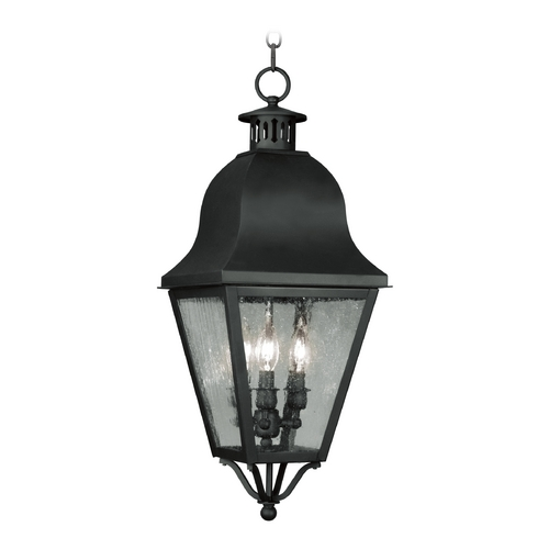 Livex Lighting Seeded Glass Outdoor Hanging Light Black Livex Lighting 2557-04