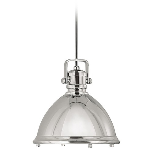 Capital Lighting Capital Lighting Polished Nickel Pendant Light with Bowl / Dome Shade 4432PN