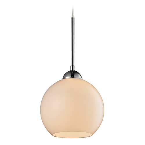 Elk Lighting Cassandra Polished Chrome Mini-Pendant Light with Globe Shade - Includes Recessed Adapter Kit 10240/1WH-LA