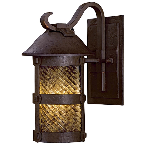 Minka Lavery Outdoor Wall Light with Beige / Cream Glass in Forged Bronze Finish 9251-A199-PL
