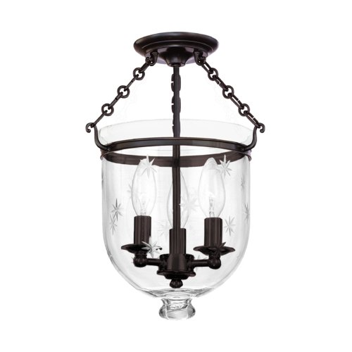Hudson Valley Lighting Semi-Flushmount Light with Clear Glass in Old Bronze Finish 251-OB-C3
