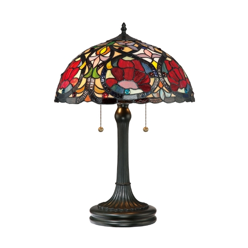 Quoizel Lighting Table Lamp with Tiffany Glass in Vintage Bronze Finish TF879T