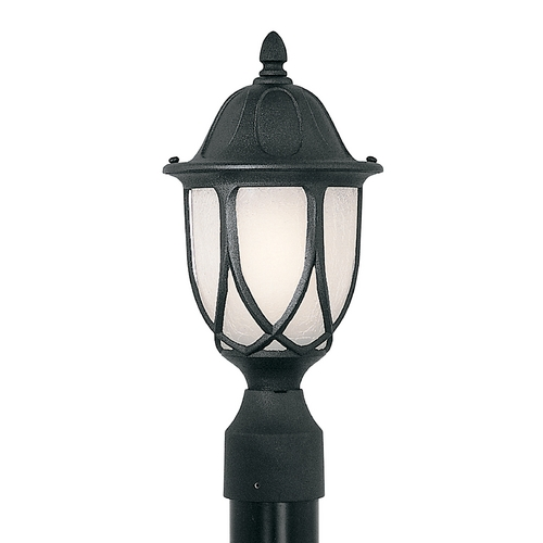 Designers Fountain Lighting Post Light with White Glass in Black Finish 2866-BK