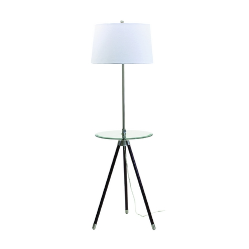 House of Troy Lighting Modern Floor Lamp with White Shade in Satin Nickel Finish TR202-SN