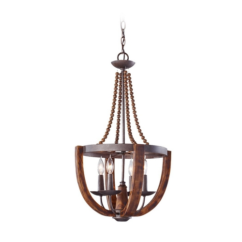 Feiss Lighting Pendant Light in Rustic Iron / Burnished Wood Finish F2753/4RI/BWD