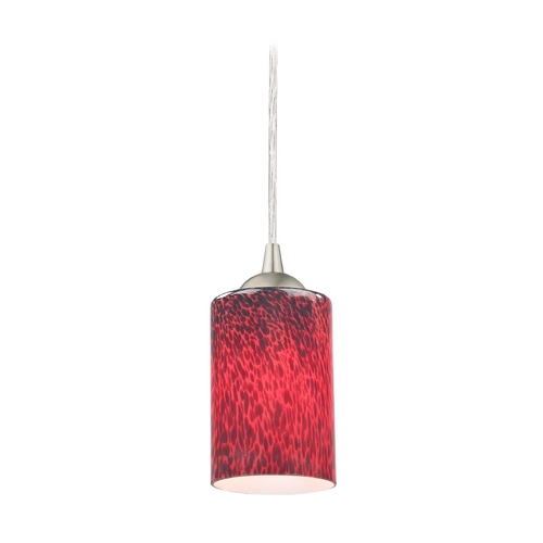 Design Classics Lighting Red Art Glass Mini-Pendant Light with Cylinder Shade 582-09 GL1018C