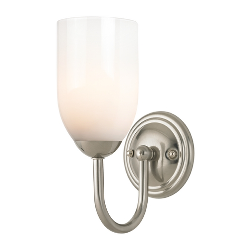 Design Classics Lighting Sconce with White Glass in Satin Nickel Finish 593-09 GL1024D