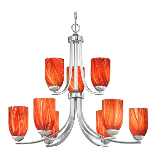 Design Classics Lighting Modern Chandelier with Red Glass in Polished Chrome Finish 586-26 GL1017D