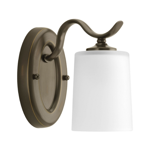 Progress Lighting Progress Sconce Wall Light with White Glass in Antique Bronze Finish P2018-20