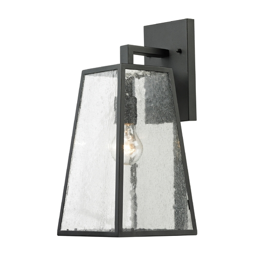 Elk Lighting Outdoor Wall Light with Clear Glass in Textured Matte Black Finish 45091/1