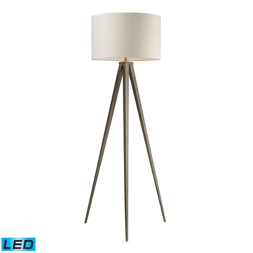 Dimond Lighting Dimond Lighting Satin Nickel LED Floor Lamp with Drum Shade D2121-LED