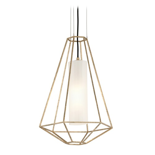 Troy Lighting Troy Lighting Silhouette Gold Leaf Pendant Light with Cylindrical Shade F5213