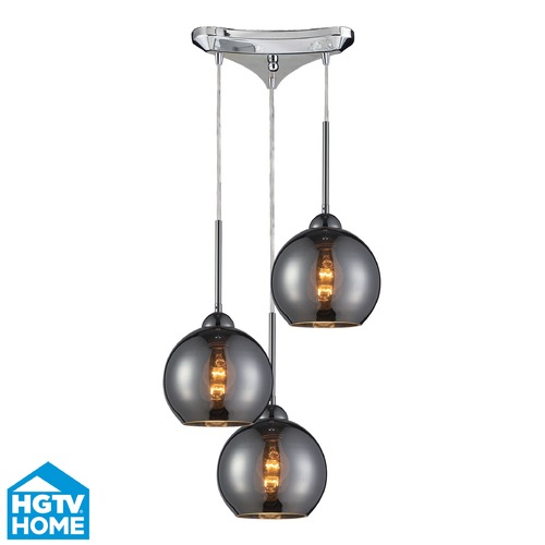 Elk Lighting Elk Lighting Cassandra Polished Chrome Multi-Light Pendant with Globe Shade 10240/3CHR