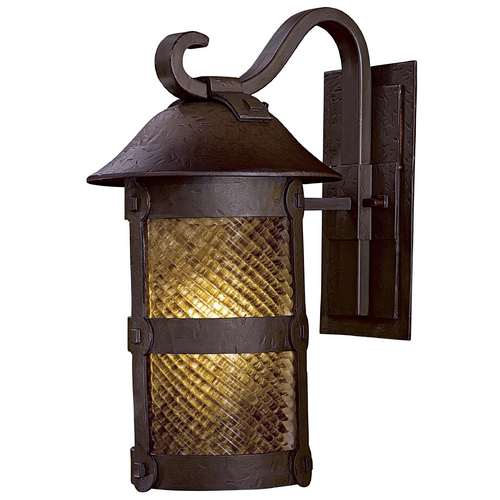 Minka Lavery Outdoor Wall Light with Beige / Cream Glass in Forged Bronze Finish 9252-A199-PL