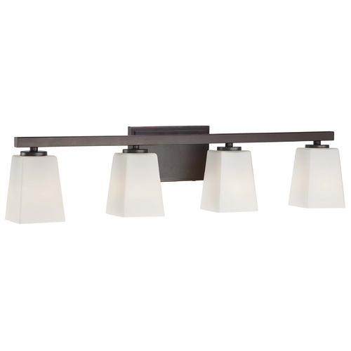 Minka Lavery Modern Bathroom Light with White Glass in Lathan Bronze Finish 6544-167
