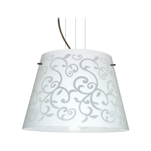 Besa Lighting Modern Drum Pendant Light with White Glass in Bronze Finish 1KV-4394WD-BR