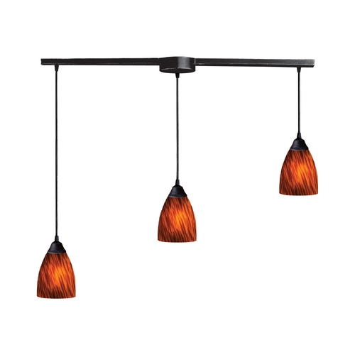 Elk Lighting Modern Multi-Light Pendant Light with Art Glass and 3-Lights 406-3L-ES