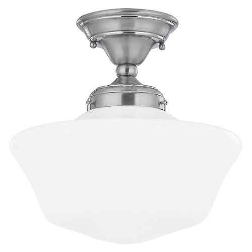 Design Classics Lighting 12-Inch Schoolhouse Ceiling Light in Satin Nickel Finish FAS-09 / GA12