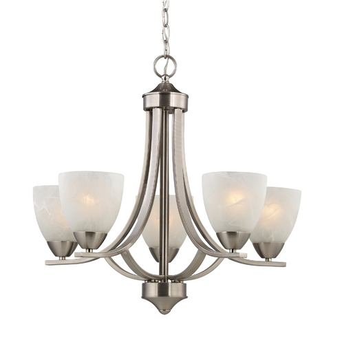 Design Classics Lighting Satin Nickel Chandelier with Alabaster Glass Shades 222-09
