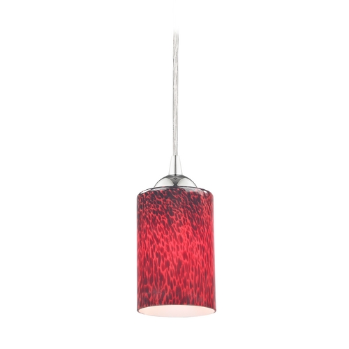 Design Classics Lighting Modern Mini-Pendant Light with Red Art Glass Cylinder Shade 582-26 GL1018C