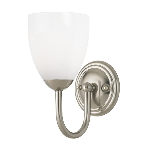 Design Classics Lighting Sconce with White Glass in Satin Nickel Finish 593-09 GL1024MB