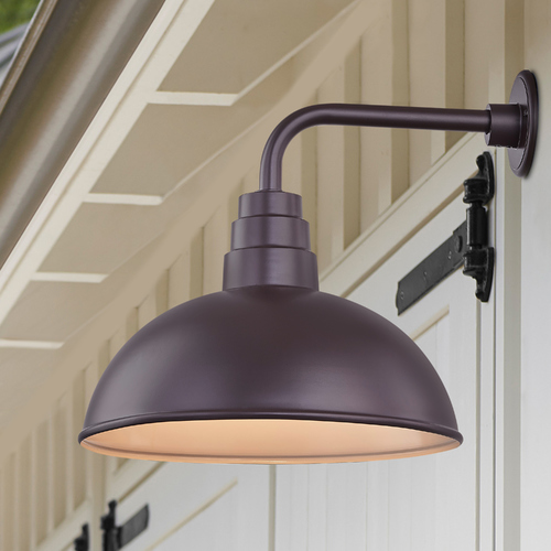 Recesso Lighting by Dolan Designs Bronze Gooseneck Barn Light with 16-Inch Dome Shade BL-ARMD2-BZ/BL-SH16D-BZ