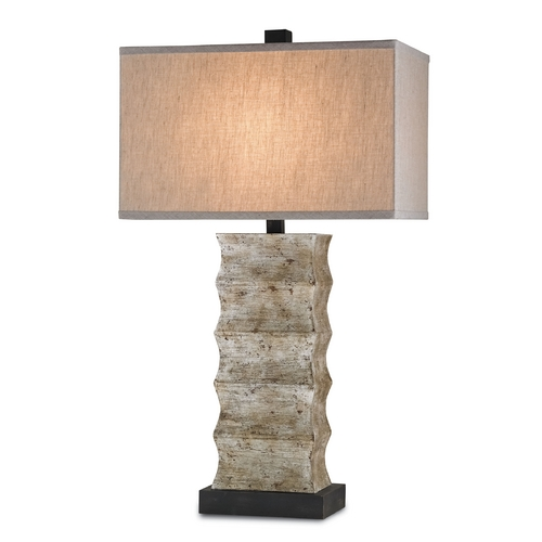 Currey and Company Lighting Currey and Company Lighting Distressed Black / Annato Antique Silver Table Lamp with Rectangle Shade 6462