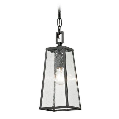 Elk Lighting Outdoor Hanging Light with Clear Glass in Textured Matte Black Finish 45092/1