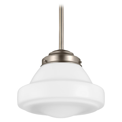 Feiss Lighting LED Schoolhouse Pendant Light Opal Glass Satin Nickel 12-Inch Wide by Feiss Lighting P1379SN-LED