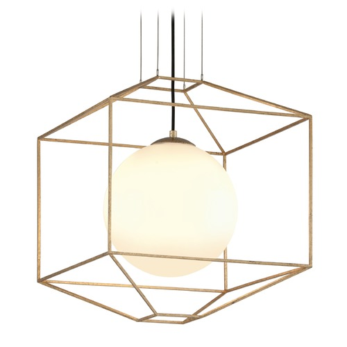 Troy Lighting Troy Lighting Silhouette Gold Leaf Pendant Light with Globe Shade F5214