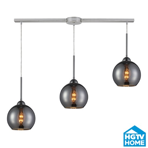 Elk Lighting Elk Lighting Cassandra Polished Chrome Multi-Light Pendant with Globe Shade 10240/3L-CHR