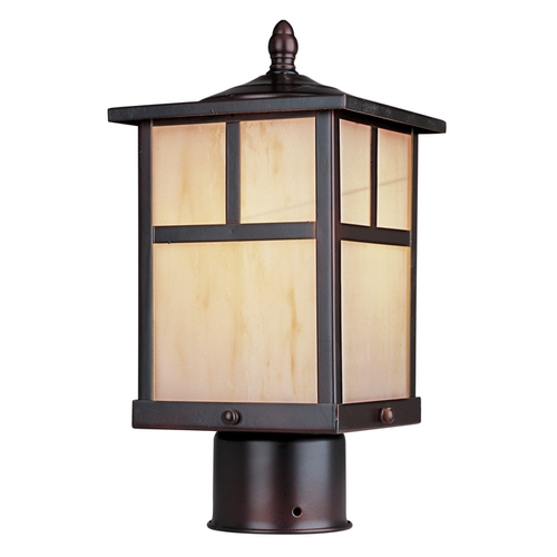 Maxim Lighting Post Light with Amber Glass in Burnished Finish 4055HOBU