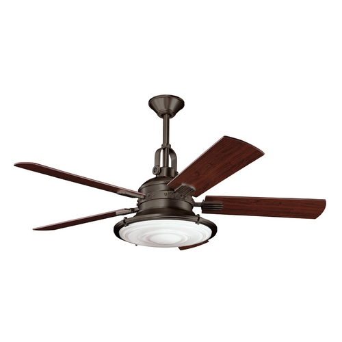 Kichler Lighting Kichler Ceiling Fan with Light with White Glass in Olde Bronze Finish 300020OZ