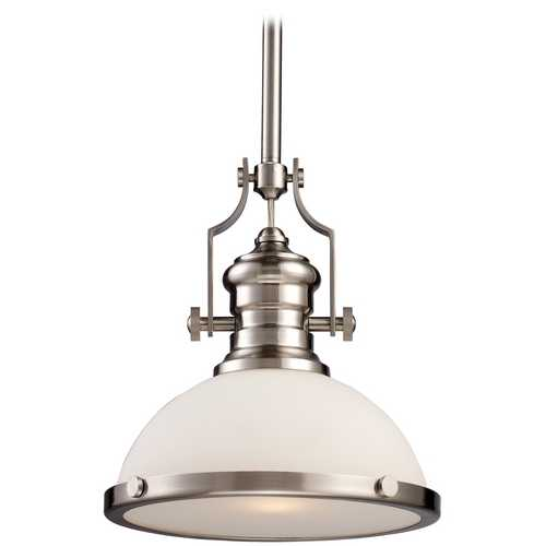 Elk Lighting Pendant Light with White Glass in Satin Nickel Finish 66123-1