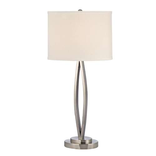 Dolan Designs Lighting Modern Satin Nickel Table Lamp with Oval Beige Shade 15001-09