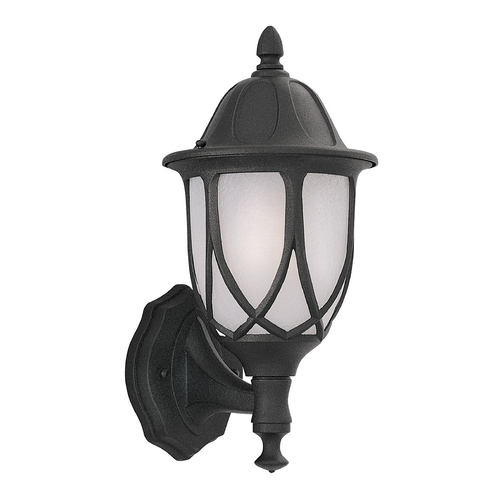 Designers Fountain Lighting Outdoor Wall Light with White Glass in Black Finish 2868-BK