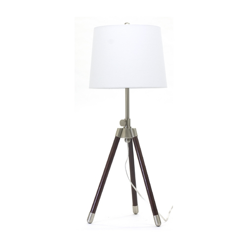 House of Troy Lighting Modern Table Lamp with White Shade in Satin Nickel Finish TR250-SN